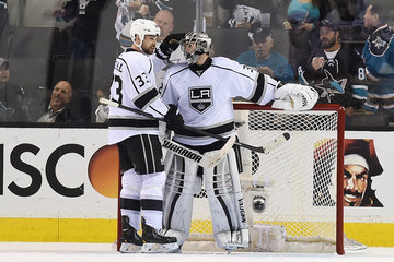 Willie Mitchell Jonathan Quick Los Angeles Kings v San Jose Sharks - Game Five