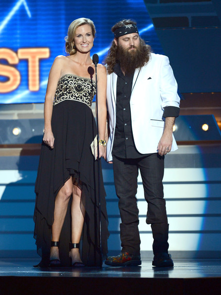 personalities Korie Robertson (L) and Willie Robertson speak onstage