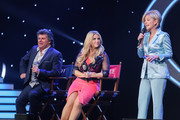 (L-R) Andy Borg, Beatrice Egli and Carmen Nebel perform on stage during the tv show 'Willkommen bei Carmen Nebel' at Tempodrom on April 7, 2016 in Berlin, Germany.