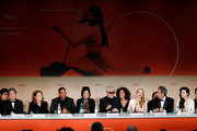Jury members Park Chan-wook, Maren Ade, Will Smith, Agnes Jaoui, President of the jury Pedro Almodovar, Jessica Chastain, Paolo Sorrentino and Fan Bingbing attends the Palme D'Or winner press conference during the 70th annual Cannes Film Festival at Palais des Festivals on May 28, 2017 in Cannes, France.