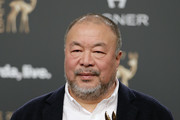'Couragel' award winner Ai Weiwei at the Bambi Awards 2017 winners board at Stage Theater on November 16, 2017 in Berlin, Germany.