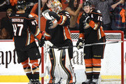 Hampus Lindholm #47, Frederik Andersen #31 and Corey Perry #10 of the Anaheim Ducks celebrate a 4-2 win over the Winnipeg Jets in Game One of the Western Conference Quarterfinals during the 2015 NHL Stanley Cup Playoffs at Honda Center on April 16, 2015 in Anaheim, California.