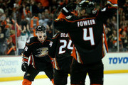 Jakob Silfverberg #33 of the Anaheim Ducks celebrates with Simon Despres #24 and Cam Fowler#4 after scoring the game winning goal with 19 seconds left in the third period against the Winnipeg Jets in Game Two of the Western Conference Quarterfinals during the 2015 NHL Stanley Cup Playoffs at Honda Center on April 18, 2015 in Anaheim, California. The Ducks won 2-1.