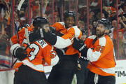 Claude Giroux #28, Wayne Simmonds #17, Shayne Gostisbehere #53 and Sam Gagner #89 of the Philadelphia Flyers celebrate the game winning goal against the Winnipeg Jets at the Wells Fargo Center on March 28, 2016 in Philadelphia, Pennsylvania. The Flyers defeated the Jets 3-2 in overtime.