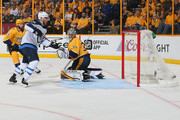 Paul Stastny #25 of the Winnipeg Jets scores a goal against goalie Pekka Rinne #35 of the Nashville Predators during the second period of Game Five of the Western Conference Second Round during the 2018 NHL Stanley Cup Playoffs at Bridgestone Arena on May 5, 2018 in Nashville, Tennessee.