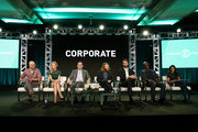 (L-R) Actors Adam Lustick and Anne Dudek, executive producer/writer/actor Jake Weisman, executive producer/director/writer Pat Bishop, executive producer/writer/actor Matt Ingebretson, and actors Lance Reddick and Aparna Nancherla of 'Corporate' speak onstage during the Comedy Central portion of the 2018 Winter TCA on January 15, 2018 in Pasadena, California.