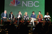 (L-R) Actors Jim O'Heir, Aziz Ansari, Chris Pratt, Amy Poehler, executive producer Mike Schur, actors Adam Scott and Retta speak onstage during the 'Parks and Recreation' panel discussion at the NBC/Universal portion of the 2015 Winter TCA Tour at the Langham Hotel on January 16, 2015 in Pasadena, California.