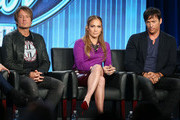"""(L-R) Keith Urban, Jennifer Lopez, and Harry Connick, Jr., of the television show """"American Idol"""" speak during the FOX portion of the 2014 Television Critics Association Press Tour at the Langham Hotel on January 13, 2014 in Pasadena, California."""