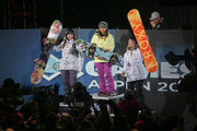 (FRANCE OUT) Chloe Kim of the USA takes 1st place, Kelly Clark of the USA takes 2nd place, Torah Bright of Australia takes 3rd place during the Winter X Games Women's Snowboard Superpipe on January 24, 2015 in Aspen, USA.