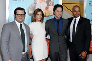 "(L-R) Josh Gad, Ashley Greene, Zach Braff and Donald Faison attend the ""Wish I Was Here"" screening at AMC Lincoln Square Theater on July 14, 2014 in New York City."