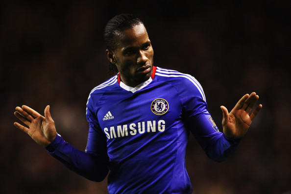 Didier Drogba of Chelsea reacts during the Barclays Premier League match between Wolverhampton Wanderers and Chelsea at Molineux on January 5, 2011 in Wolverhampton, England.