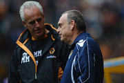 Mick McCarthy of Wolves greets Avram Grant of West Ham United during the Barclays Premier League match between Wolverhampton Wanderers and West Ham United at Molineux on October 16, 2010 in Wolverhampton, England.
