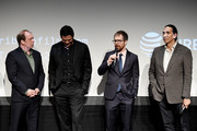 "Bill Camp, Chaske Spencer, Sam Rockwell and Michael Greyeyes speak during panel at the Screening of ""Woman Walks Ahead"" - 2018 Tribeca Film Festival at BMCC Tribeca PAC on April 25, 2018 in New York City."