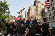 Alex Morgan, and Allie Long celebrate during the U.S. Women's National Soccer Team Victory Parade and City Hall Ceremony on July 10, 2019 in New York City.