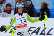 Susanne Riesch of Germany reacts in the finish area after skiing in the Women's Slalom during the Alpine FIS Ski World Championships on the Gudiberg course on February 19, 2011 in Garmisch-Partenkirchen, Germany.