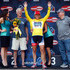 Kristin Armstrong of the United States riding for Twenty 16 presented by Sho-Air is presented the overall race leader's yellow jersey by women's race director Sean Petty (R) and USA Pro Challenge CEO and Co-Chairman Shawn Hunter (L) after her win in the individual time trial during stage one of the 2015 Women's USA Pro Challenge on August 21, 2015 in Breckenridge, Colorado.