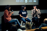 (L-R) Tabitha Denholm, director Ana Lily Amirpour and musician Karen O speak on stage after the Women Under The Influence Screening of Kenzo's Yo My Saint with Karen O and Ana Lily Amirpour at NeueHouse Hollywood on March 1, 2018 in Los Angeles, California.