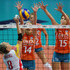 Ingrid Louise Visser Photos - Diana Sanchez (R) of Spain spikes the ball over the net as Ingrid Louise Visser (L) and her teamamte Laura Djkema of Netherlands attempt to block during the women Volleyball European Championship match between Netherlands and Spain on September 23, 2011 in Busto Arsizio, Italy. - Women Volleyball European Championship -  Netherlands v Spain