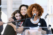 Actors Rowan Blanchard, Jurnee Smollett-Bell and Alfre Woodard onstage during the Women's March Los Angeles 2018 on January 20, 2018 in Los Angeles, California.