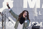 Singer Idina Menzel performs during the Women's March Los Angeles 2018 on January 20, 2018 in Los Angeles, California.