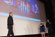 Joaquin Phoenix, Beth Ditto and Keith Simanton speak on stage after a screening of the film 'Don't Worry, He Won't  Get Far On Foot' during the Seattle International Film Festival at SIFF Cinema Egyptian on June 10, 2018 in Seattle, Washington.