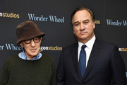 """Woody Allen and Jim Belushi attend the """"Wonder Wheel"""" screening at Museum of Modern Art on November 14, 2017 in New York City."""