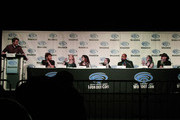 (L-R) Eric Carmichael, Ivan Van Norman, Deborah Ann Woll, Gina DeVivo, Sam de Leve, B. Dave Walters, Amy Dallen, and Jason Charles Miller attend the Geek & Sundry: All Things RPG-E during WonderCon 2019 at Anaheim Convention Center on March 30, 2019 in Anaheim, California.