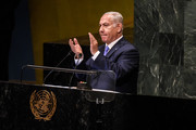 Benjamin Netanyahu, Prime Minister of Israel applauds U.S. President Donald Trump during a speech at the United Nations during the United Nations General Assembly on September 27, 2018 in New York City. World leaders are gathered for the 73rd annual meeting at the UN headquarters in Manhattan.