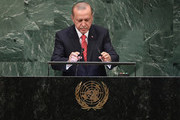 President of Turkey Recep Tayyip Erdogan prepares to address the United Nations General Assembly on September 25, 2018 in New York City. The United Nations General Assembly, or UNGA, is expected to attract 84 heads of state and 44 heads of government in New York City for a week of speeches, talks and high level diplomacy concerning global issues. New York City is under tight security for the annual event with dozens of road closures and thousands of security officers patrolling city streets and waterways.