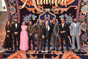 "(L-R) Actors Nasim Pedrad, Marwan Kenzari, Naomi Scott, Mena Massoud, director Guy Ritchie, Composer Alan Menken, actors Will Smith, Navid Negahban and Numan Acar attend the World Premiere of Disney?s ""Aladdin"" at the El Capitan Theater in Hollywood CA on May 21, 2019, in the culmination of the film?s Magic Carpet World Tour with stops in Paris, London, Berlin, Tokyo, Mexico City and Amman, Jordan."