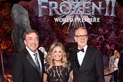 """(L-R) Producer Peter Del Vecho, Director/writer/Walt Disney Animation Studios CCO Jennifer Lee, and Director Chris Buck attend the world premiere of Disney's """"Frozen 2"""" at Hollywood's Dolby Theatre on Thursday, November 7, 2019 in Hollywood, California."""