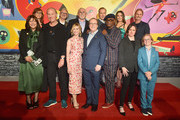 "(Back row L-R) Nicole Paradis Grindle, John Walker, John Ratzenberger, Bob Odenkirk, Sophia Bush, Jere Burns, and (front row L-R) Catherine Keener, Craig T. Nelson, Holly Hunter, Brad Bird, Samuel L. Jackson, Sarah Vowell, and Huck Milner attend the World Premiere Of Disney-Pixar's ""Incredibles 2"" at El Capitan Theatre on June 5, 2018 in Los Angeles, California."