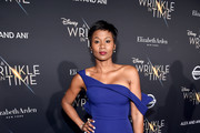 Actor Emayatzy Corinealdi arrives at the world premiere of Disney's 'A Wrinkle in Time' at the El Capitan Theatre in Hollywood CA, March 26, 2018.