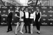 "Image has been shot in black and white. Color version not available.) (L-R) Sistine Rose Stallone, Scarlet Rose Stallone, actor Sylvester Stallone, Jennifer Flavin and Sophia Rose Stallone at The World Premiere of Marvel Studios' ""Guardians of the Galaxy Vol. 2."" at Dolby Theatre in Hollywood, CA April 19th, 2017"