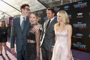"""(L-R) Writer/director James Gunn, actors Jennifer Holland, Chris Pratt and Anna Faris at The World Premiere of Marvel Studios' """"Guardians of the Galaxy Vol. 2."""" at Dolby Theatre in Hollywood, CA April 19th, 2017"""