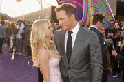 """Actors Anna Faris (L) and Chris Pratt at The World Premiere of Marvel Studios' """"Guardians of the Galaxy Vol. 2."""" at Dolby Theatre in Hollywood, CA April 19th, 2017"""