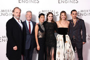 "(L-R) Hugo Weaving, Stephen Lang, Jihae, Hera Hilmar, Leila George and Robert Sheehan attend the World Premiere of ""Mortal Engines"" at Cineworld Leicester Square on November 27, 2018 in London, England."