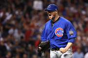 Jon Lester #34 of the Chicago Cubs reacts after retiring the side during the seventh inning against the Cleveland Indians in Game Seven of the 2016 World Series at Progressive Field on November 2, 2016 in Cleveland, Ohio.