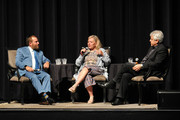 """Roseanne Barr, Rabbi Shmuley Boteach (L) and moderator David Suissa (R) participate in """"Is America a Forgiving Nation?,'' a Yom Kippur eve talk on forgiveness hosted by the World Values Network and the Jewish Journal at Saban Theatre on September 17, 2018 in Beverly Hills, California."""