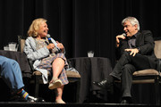 """Roseanne Barr and moderator David Suissa  participate in """"Is America a Forgiving.Nation?,'' a Yom Kippur eve talk on forgiveness hosted by the World Values.Network and the Jewish Journal at Saban Theatre on September 17, 2018 in Beverly Hills, California."""
