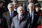 Former Prime Minister Gordon Brown, Labour Party Leader, Jeremy Corbyn and Former Prime Minister Tony Blair stand during the annual Remembrance Sunday memorial on November 11, 2018 in London, England. The armistice ending the First World War between the Allies and Germany was signed at Compiègne, France on eleventh hour of the eleventh day of the eleventh month - 11am on the 11th November 1918. This day is commemorated as Remembrance Day with special attention being paid for this year's centenary.