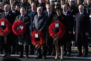 Leader of the Liberal Democrats Vince Cable, Secretary of State for Defence Gavin Williamson, Ian Blackford, Former British Prime Minister David Cameron, Leader of the Labour Party Jeremy Corbyn, Former British Prime Minister Gordon Brown, British Prime Minister Theresa May and Former British Prime Ministers Tony Blair and John Major during the annual Remembrance Sunday memorial on November 11, 2018 in London, England. The armistice ending the First World War between the Allies and Germany was signed at Compiègne, France on eleventh hour of the eleventh day of the eleventh month - 11am on the 11th November 1918. This day is commemorated as Remembrance Day with special attention being paid for this year's centenary.