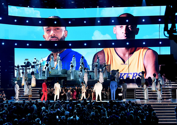 62nd Annual GRAMMY Awards - Show [images,stage,performance,entertainment,display device,event,concert,stage equipment,performing arts,public event,technology,nipsey hussle,kobe bryant,kirk franklin,john legend,dj khaled,screen,l-r,annual grammy awards,show,nipsey hussle,grammy awards,hip hop music,musician,rapper,artist,higher,grammy award for best rap performance,iheartradio,dj khaled]