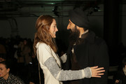 Sofia Sanchez Barrenechea (L) and Waris Ahluwalia attend the Yigal Azrouel fashion show on February 15, 2015 in New York City.