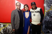 (L-R) Roger Gold, Camila Cabello and Kevin Liles attends YouTube brings the BOOM BAP to New York City With Lyor Cohen, Nas, Grandmaster Flash, Q-Tip, Chuck D and Fab 5 Freddy on January 26, 2018 at Industria in New York City.