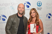 "Jason Statham and author Dr. Nigma Talib  attend the ""Younger Skin Starts In The Gut"" book launch party at Four Seasons Hotel Los Angeles at Beverly Hills on March 22, 2016 in Los Angeles, California."