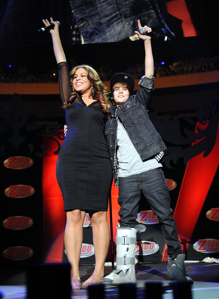 Justin Bieber Jordin Sparks and Justin Bieber perform onstage during Z100's