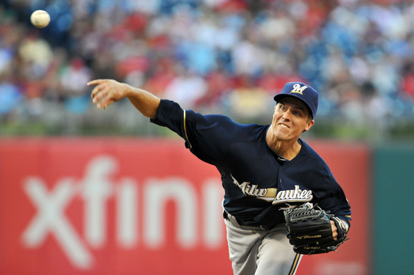 Zack Greinke - Milwaukee Brewers v Philadelphia Phillies