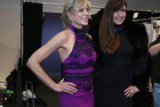 Marla Maples (L) and Carol Alt attend backstage at the Zang Toi show during New York Fashion Week: The Shows at Gallery II at Spring Studios on February 13, 2019 in New York City.
