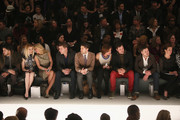 Alex McCord (2nd L), Ramona Singer (3rd L), Tom Murrow (4th L), Countess LuAnn De Lesseps (4th R), Maksim Chmerkovskiy (3rd R) and Valentin Chmerkovskiy (2nd R) attends the Zang Toi Fall 2013 fashion show during Mercedes-Benz Fashion Week at The Stage at Lincoln Center on February 13, 2013 in New York City.
